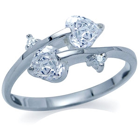 White Cubic Zirconia (CZ) 925 Sterling Silver Twin Heart Ring