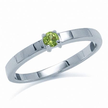 Natural Peridot 925 Sterling Silver Engagement Ring