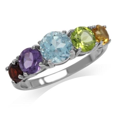 5-Stone Natural Citrine, Peridot, Blue Topaz, Amethyst & Garnet 925 Sterling Silver Ring