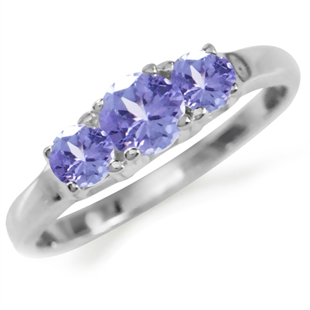 Petite 3-Stone Genuine Tanzanite 925 Sterling Silver Ring