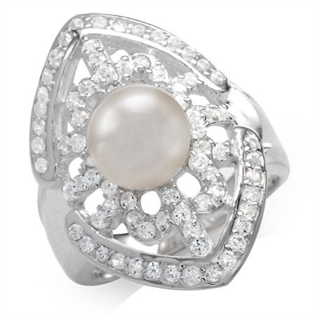 Cultured Pearl & White Cubic Zirconia (CZ) Sterling Silver Ring