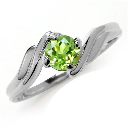 Natural Peridot 925 Sterling Silver Solitaire Ring