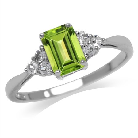 1.08ct. Genuine Peridot & White Topaz 925 Sterling Silver Engagement Ring