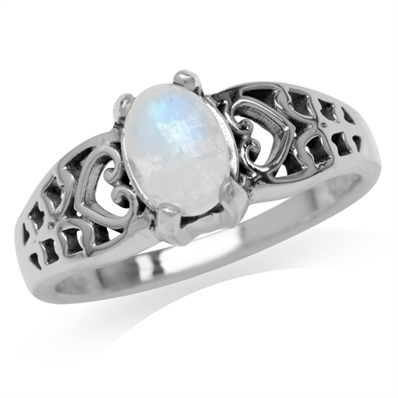 Natural Moonstone 925 Sterling Silver Filigree Victorian Style Solitaire Ring