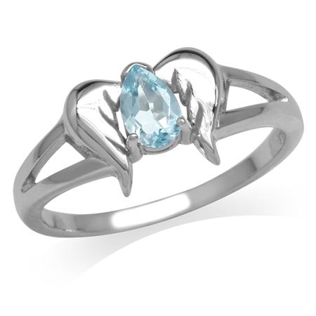 Genuine Blue Topaz 925 Sterling Silver Angel Wings Ring