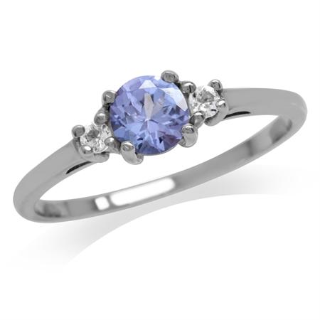 Petite Genuine Tanzanite & White Topaz 925 Sterling Silver Promise Ring