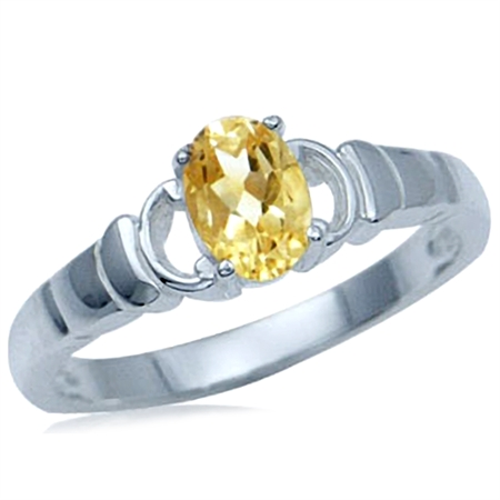 Natural Oval Shape Citrine 925 Sterling Silver Solitaire Ring