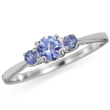 Petite 3-Stone Genuine Tanzanite 925 Sterling Silver Promise Ring