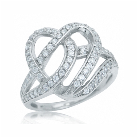 CZ White Gold Plate 925 Sterling Silver Heart Ribbon Knot Ring