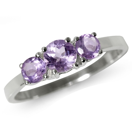 Petite 3-Stone Natural Amethyst 925 Sterling Silver Ring