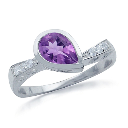 1.07ct. Natural February Birthstone Amethyst & White Topaz 925 Sterling Silver Heart Filigree Ring