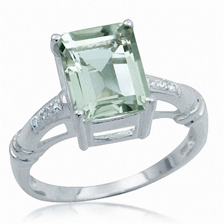 3.7ct. Natural Green Amethyst & White Topaz 925 Sterling Silver Cocktail Ring