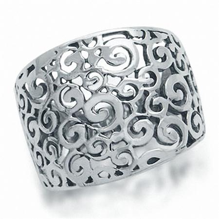 925 Sterling Silver Spiral Filigree Ring