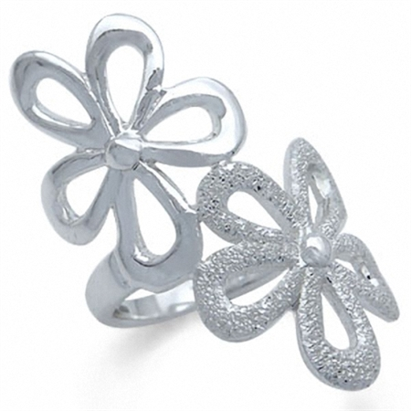 925 Sterling Silver Stardust FLOWER Ring