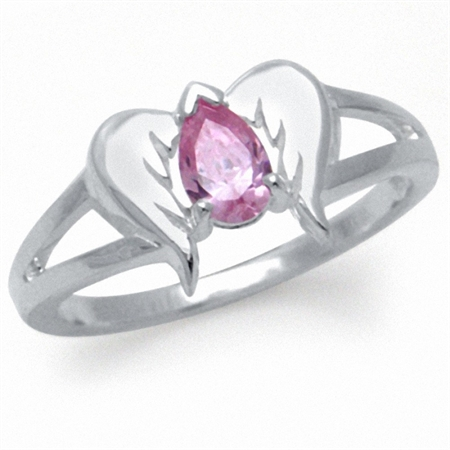 Pink CZ 925 Sterling Silver Angel Wings Ring
