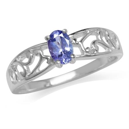 Genuine Tanzanite 925 Sterling Silver Filigree Solitaire Ring