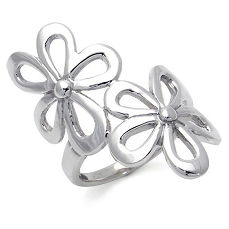 925 Sterling Silver Double FLOWER Ring