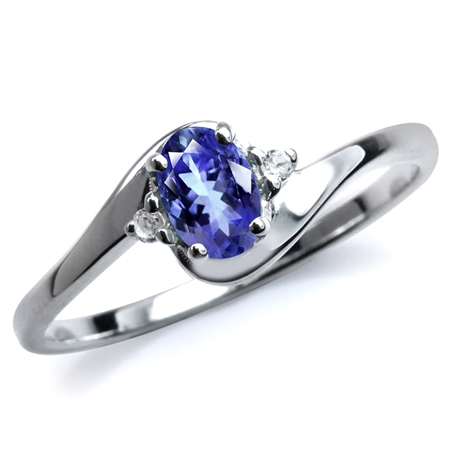 Genuine Tanzanite & White Topaz 925 Sterling Silver Engagement Ring