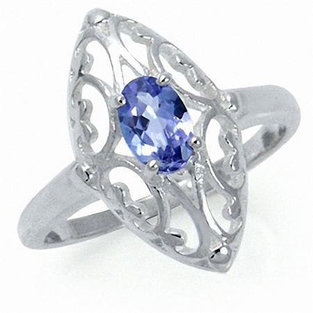 Genuine Tanzanite 925 Sterling Silver Filigree Ring