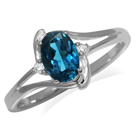 1ct. 7x5MM Genuine Oval Shape London Blue & White Topaz 925 Sterling Silver Ring