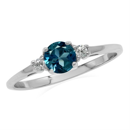 Petite Genuine London Blue Topaz White Gold Plated 925 Sterling Silver Ring