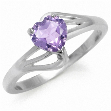 Natural Heart Shape Amethyst 925 Sterling Silver Solitaire Ring