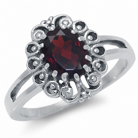 1.57ct. Natural Garnet 925 Sterling Silver Filigree Ring