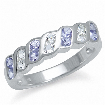 Genuine Tanzanite & White Topaz 925 Sterling Silver Journey Ring