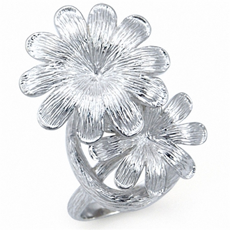 Long Textured 925 Sterling Silver Twin FLOWER Ring