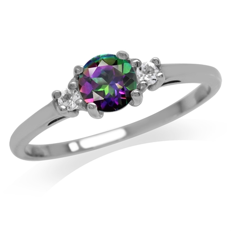 Petite Mystic Fire Topaz White Gold Plated 925 Sterling Silver Promise Ring