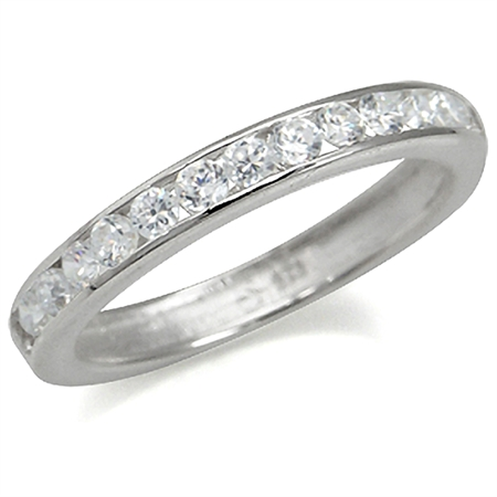 Channel Set White CZ 925 Sterling Silver Journey Ring