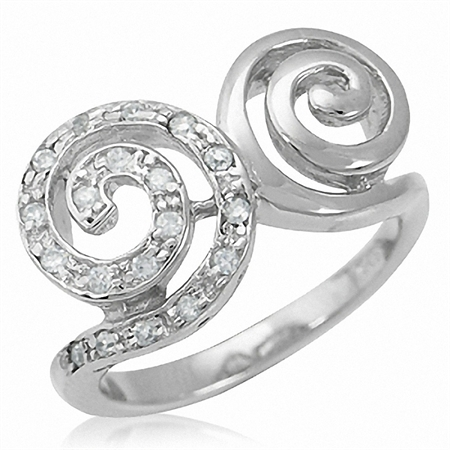 Spiral Swirl CZ Gold Plated on 925 Sterling Silver Ring