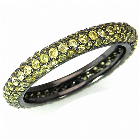 Sapphire Yellow CZ 925 Sterling Silver Eternity Band Stack/Stackable Ring
