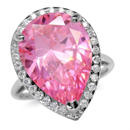 HUGE 18x13MM Pear Shape Pink & White CZ 925 Sterling Silver Cocktail Ring