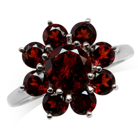 4.22ct. Natural Garnet White Gold Plated 925 Sterling Silver Flower Cluster Ring