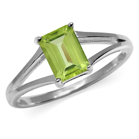 1.08ct. Natural Octagon Shape Peridot White Gold Plated 925 Sterling Silver Solitaire Ring
