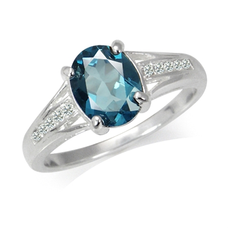 2.23ct. Genuine Oval Shape London Blue Topaz 925 Sterling Silver Engagement Ring