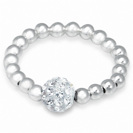 Clear Crystal Rhinestone & Sterling Silver Ball Bead Stretch Stack/Stackable Ring