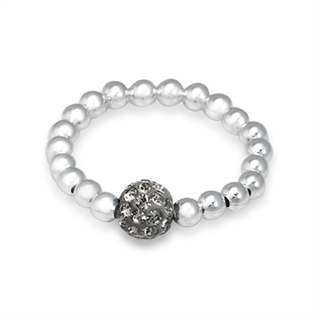 Black Diamond Crystal Rhinestone & Sterling Silver Ball Bead Stretch Stack/Stackable Ring