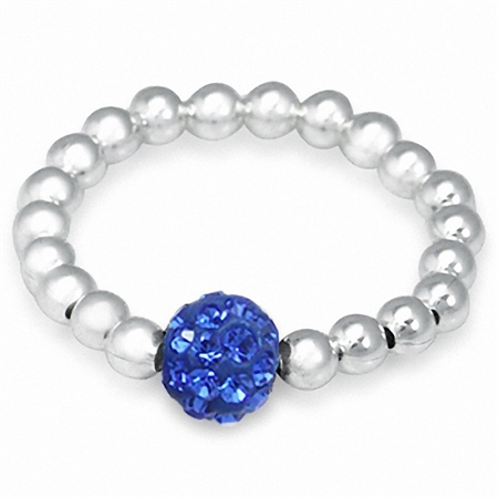 Sapphire Blue Crystal Rhinestone & Sterling Silver Ball Bead Stretch Stack/Stackable Ring