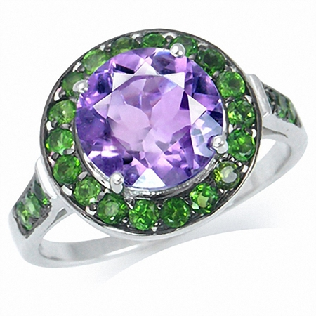 3.06ct. Natural Amethyst & Chrome Diopside White Gold Plated 925 Sterling Silver Cocktail Ring