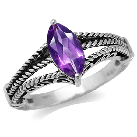 Natural February Birthstone African Amethyst 925 Sterling Silver Filigree Solitaire Rope Ring