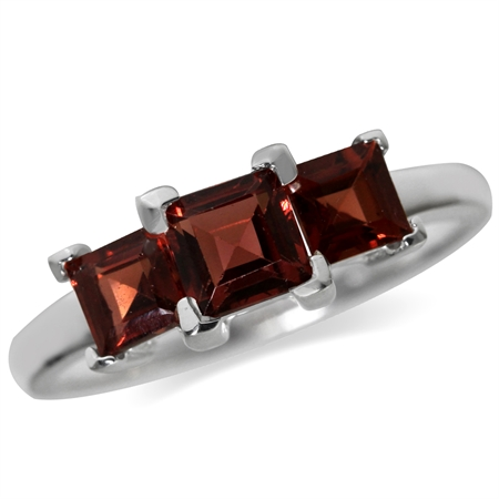 1.7ct. 3-Stone Natural Garnet White Gold Plated 925 Sterling Silver Ring