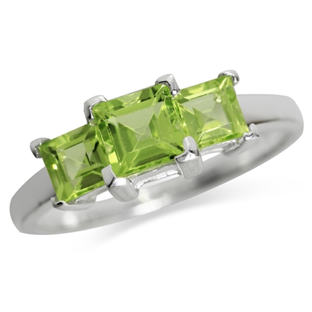 1.48ct. 3-Stone Natural Peridot White Gold Plated 925 Sterling Silver Ring