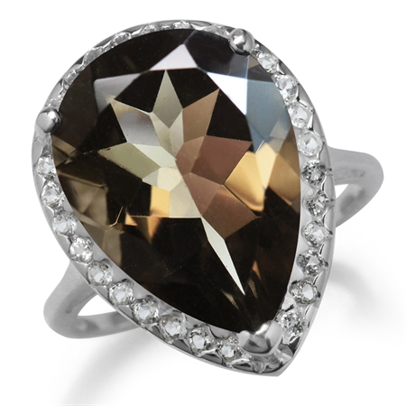 HUGE 9.62ct. 18x13MM Natural Pear Shape Smoky Quartz & White Topaz 925 Sterling Silver Cocktail Ring