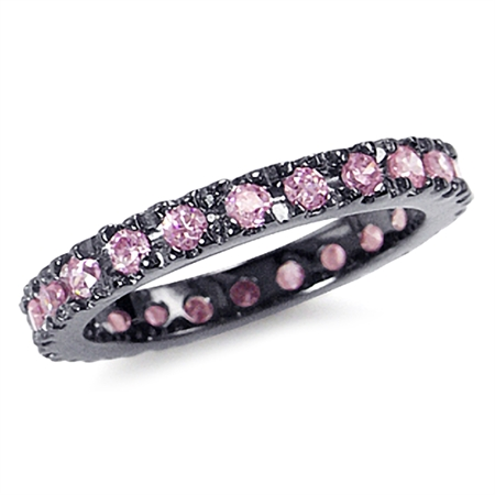 Pink CZ 925 Sterling Silver Eternity Band Stack/Stackable Ring