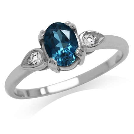 Genuine London Blue Topaz 925 Sterling Silver Engagement Ring