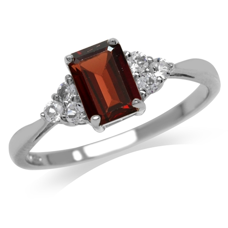 1.28ct. Natural Garnet & White Topaz 925 Sterling Silver Engagement Ring