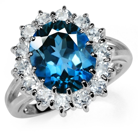 6.01ct. 12x10MM Genuine Oval Shape London Blue Topaz 925 Sterling Silver Cluster Cocktail Ring