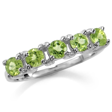 5-Stone Natural Peridot White Gold Plated 925 Sterling Silver Ring
